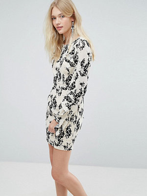 Liquorish Dress With Flocked Floral Print And Ruffle Sleeves - Cream and black