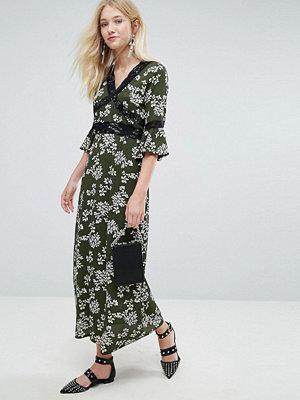 Liquorish Floral Print Maxi Dress - Black print