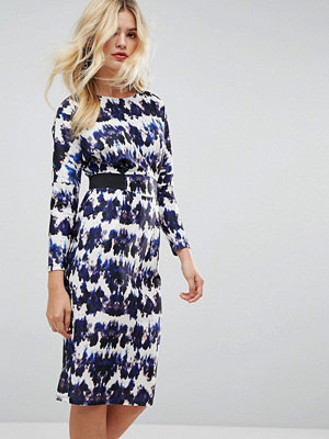 ASOS Midi Dress With Elastic Waist Detail In Ink Splash Print