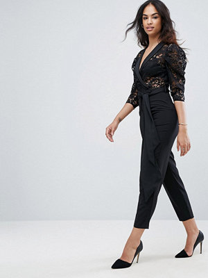 ASOS Tux Jumpsuit in Lace with Satin Trims
