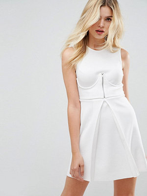 ASOS Mini Scuba Skater Dress With Zip Corset