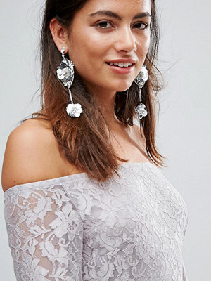 Johnny Loves Rosie örhängen Sequin & Rhinestone Flower Statement Drop Earrings