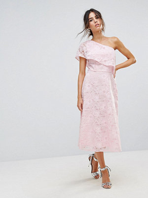 Warehouse Floral Lace One Shoulder Dress