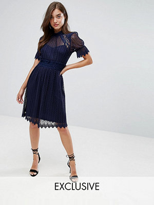 TFNC High Neck Pleated Lace Midi Dress With Smocked Waist