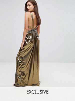 TFNC V Neck Maxi Dress With Pleated Back Panels