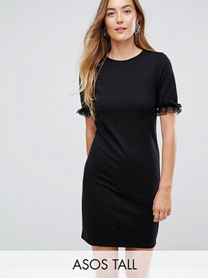 Asos Tall T-Shirt Dress In Ponte With Lace Frill Sleeve