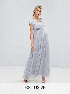 Little Mistress Wrap Front Maxi Dress With Eyelash Lace Trim