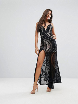 Love Triangle Allover Lace Maxi Dress With Deep Thigh Split