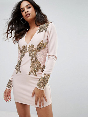 A Star Is Born Long Sleeve Heavily Embellished Dress With V Front