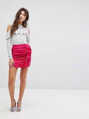 Fashion Union Minikjol med rynkning och volang i lyxigt material Varmrosa