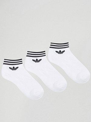 Adidas Originals 3-pack vita ankelstrumpor med treklöver-logga