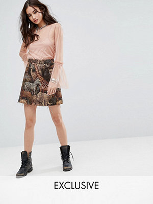 Reclaimed Vintage Inspired Mini Skirt In Woven Animal Tapestry