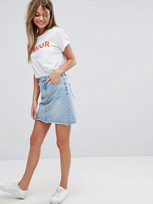 New Look Washed Denim Mom Skirt