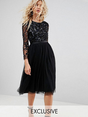 Needle & Thread Embellished Midi Dress with Long Sleeves