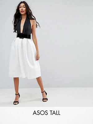 Asos Tall Mono Belted Halter Neck Midi Prom Dress