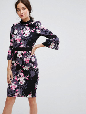 Paper Dolls Long Sleeve Pencil Dress in Floral Print
