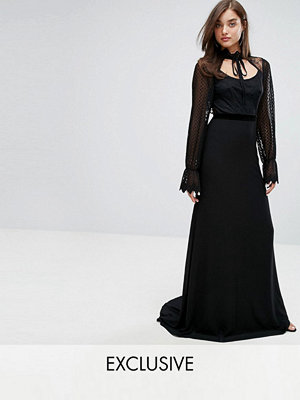 TFNC High Neck Long Sleeve Lace Maxi With Velvet Trims