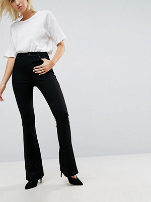 ASOS Bell Flare Jeans In Clean Black With Pressed Crease