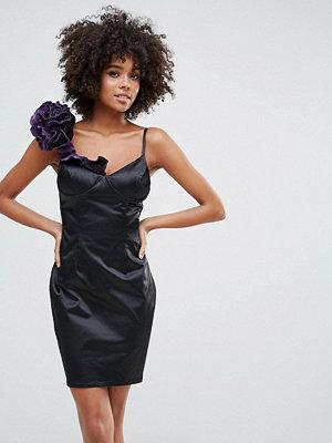 City Goddess Halter Pencil Dress With Floral Corsage - Black/purple