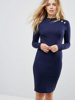 Brave Soul Long Sleeve Dress With Gold Button Detail