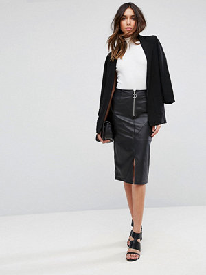 ASOS Leather Pencil Skirt with Circle Zip Trim