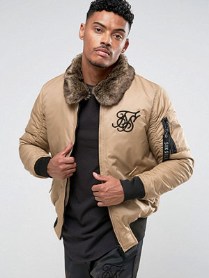 Siksilk Bomber Jacket In Stone With Borg Collar