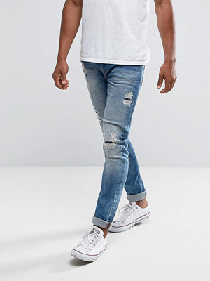 Jeans - Only & Sons Slim Fit Jeans With Rip Repair Bleach Wash