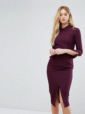Closet London Closet Long Sleeve Front Split Collar Midi Dress
