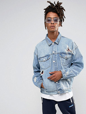 Cayler & Sons Denim Jacket In Blue With Distressing