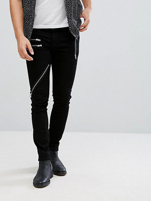 Jeans - ASOS Super Skinny Jeans In Black With All Over Zips