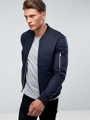 Bomberjackor - ASOS Muscle Fit Bomber Jacket With Sleeve Zip in Navy