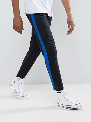 ASOS Slim Cropped Trousers With Side Stripe In Navy