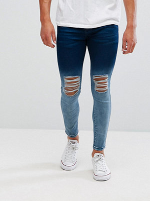 Jeans - Illusive London Super Skinny Jeans With Blue Fade And Distressing