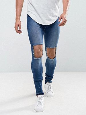 Jeans - Dr. Denim Leroy Super Skinny Dark Wrecking Blue