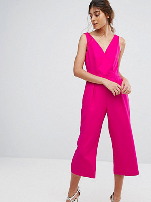 Oasis Wrap Front Culotte Jumpsuit - Bright pink