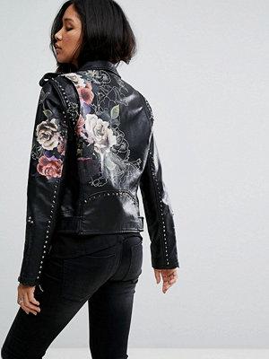 Skinnjackor - Blank NYC Leather Look Jacket with Floral Detail