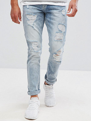Jeans - Brooklyns Own Super Skinny Jeans In Light Wash Blue With Distressing