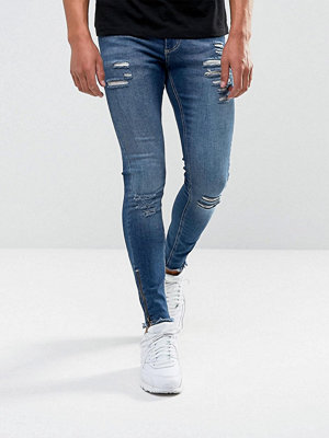 Jeans - 11 Degrees Super Skinny Jeans In Midwash Blue With Distressing