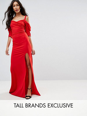 TFNC Tall Fishtail Maxi Dress With 80'S Off Shoulder