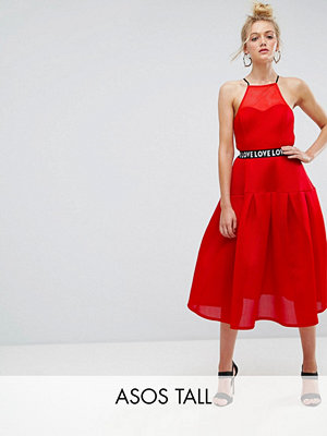 Asos Tall Bonded Mesh Prom Midi Dress With Love Strap