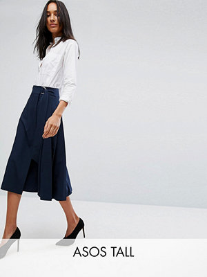 Asos Tall Tailored Midi Skirt in Pleat & Solid