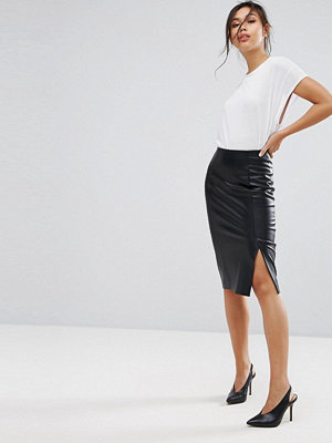 Warehouse Leather Look Pencil Skirt