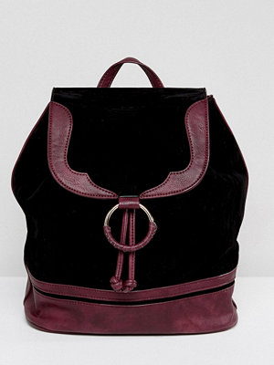 Glamorous ryggsäck Faux Suede Backpack With Burgundy Trim