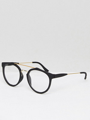 Solglasögon - 7X Brow Bar Detail Round Clear Lens Glasses