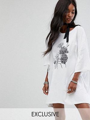 Milk It Vintage Oversize T-Shirt Dress With Choker Tie
