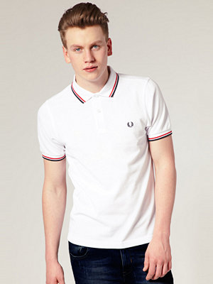 Pikétröjor - Fred Perry Slim Fit Polo With Twin Tipped In White