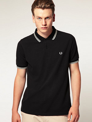Fred Perry Slim Fit Polo with Twin Tipped in Black