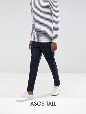 ASOS TALL Tapered Smart Trousers In Navy Pinstripe With Elasticated Waist