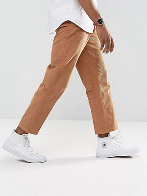ASOS Straight Crop Smart Trousers In Tan Cord