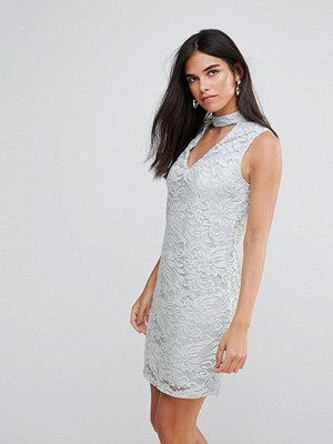 Ax Paris Choker Neck Lace Mini Dress - Sky blue